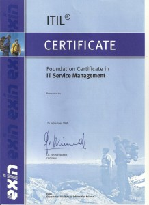 itil foundation certificate exin